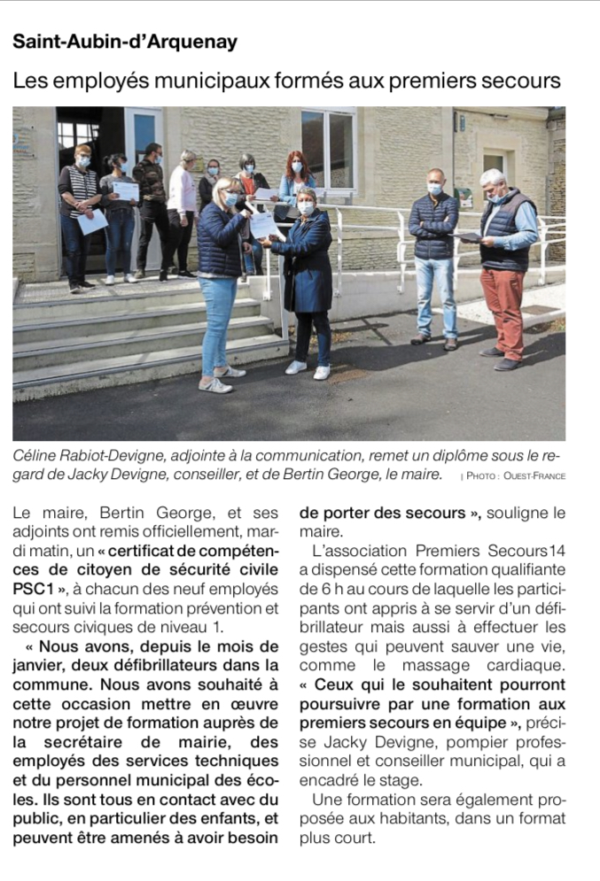 Article Ouest France 15-05-2021