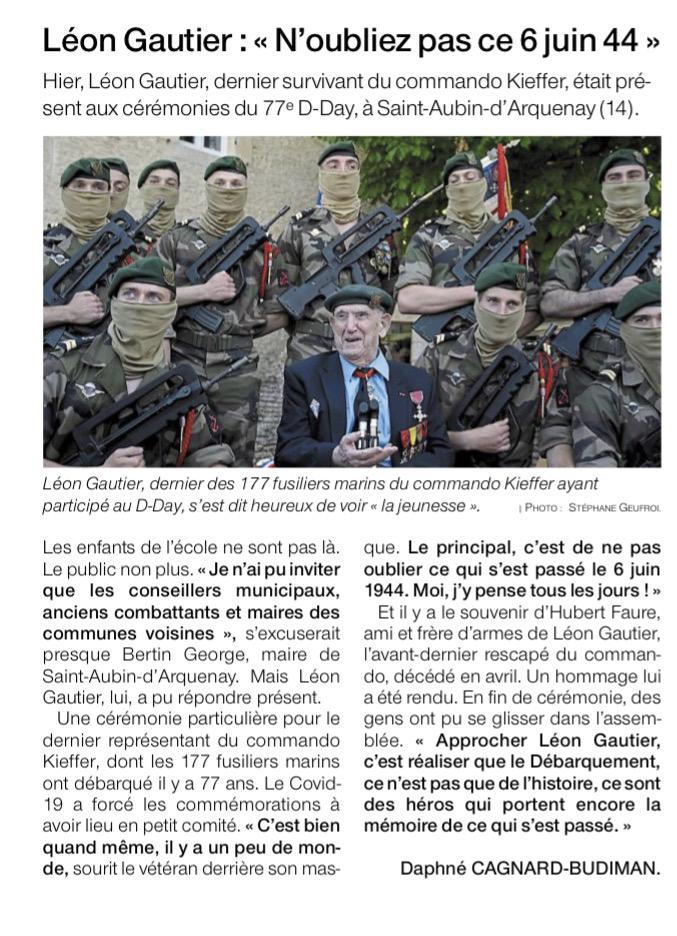 """Léon Gautier - """"N'oubliez pas ce 6 juin 44"""" - Ouest France 05-06-2021"""
